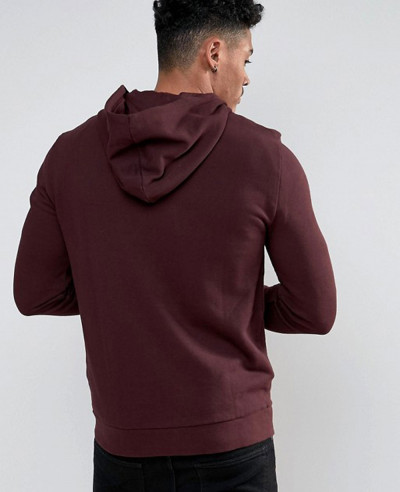 Zip Up Hoodie In Burgundy