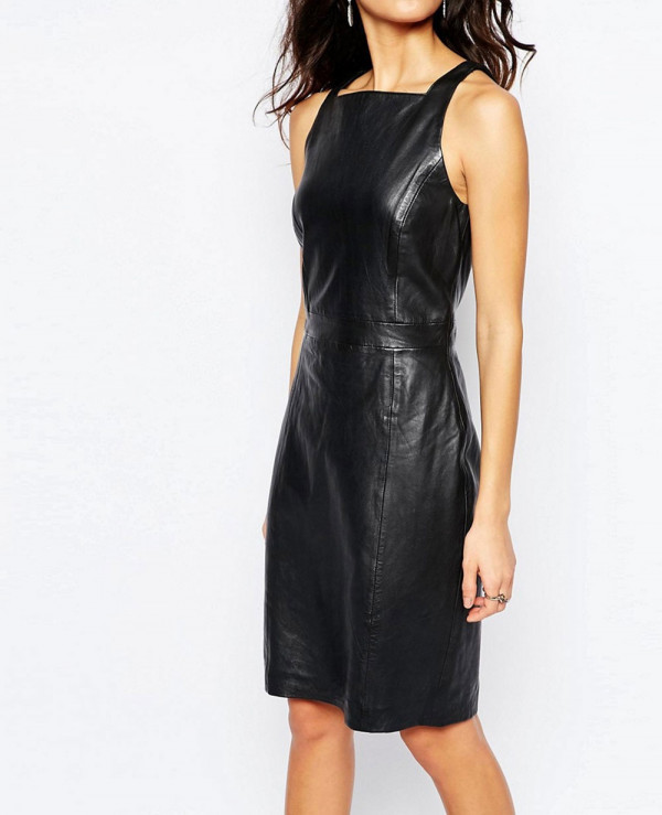 All-Black-Premium-Leather--Women-Dress