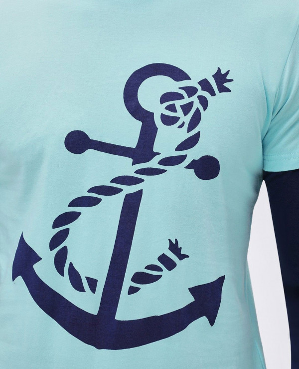 Anchor-Printed-Dual-Layer-T-Shirt