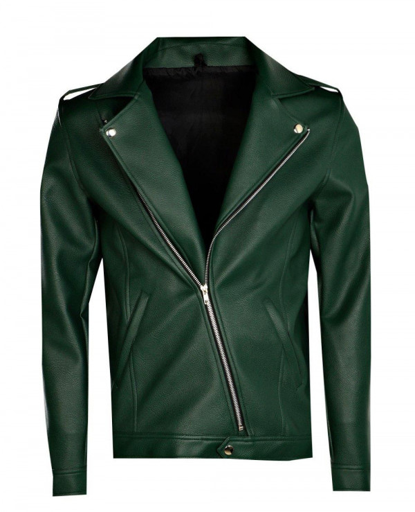 Asymmetric-Faux-Leather-Green-Biker-Jacket