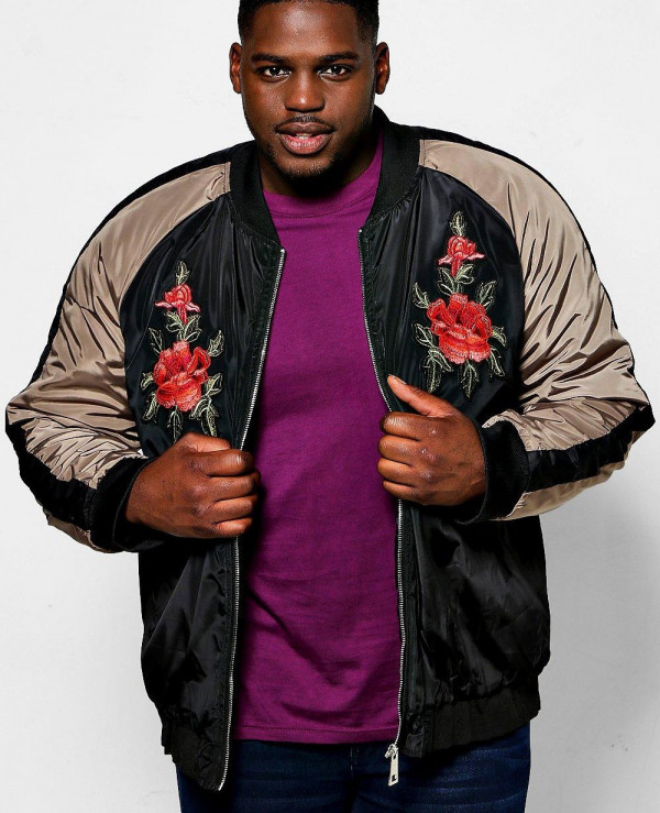 Big-And-Tall-Black-Raglan-Rose-Badged-Bomber-Varsity-Jacket