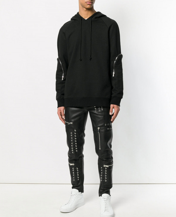 Biker-Trouser-Men-Leather-Denim-Splices-Skinny-Pencil-Punk-Casual-Zip-Pant