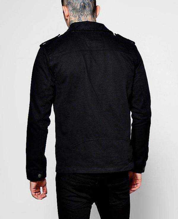 Black-Denim-Biker-Jacket-In-Regular-Fit