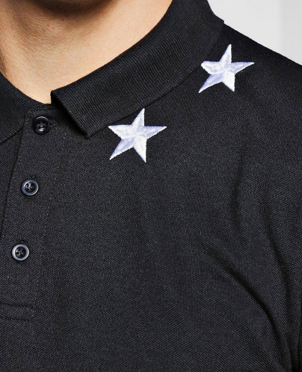 Black-Men-Short-Sleeve-Star-Embroidered-Polo-Shirt