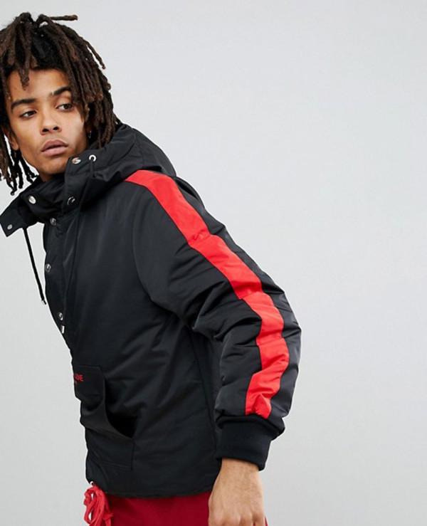 Black-With-Red-Stripe-Windbreaker-Jacket