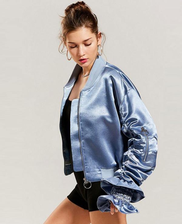 Blue-Satin-Ruffle-Bomber-Varsity-Jacket