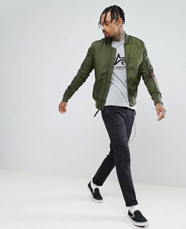 Bomber-Jacket-Slim-Fit-in-Dark-Green