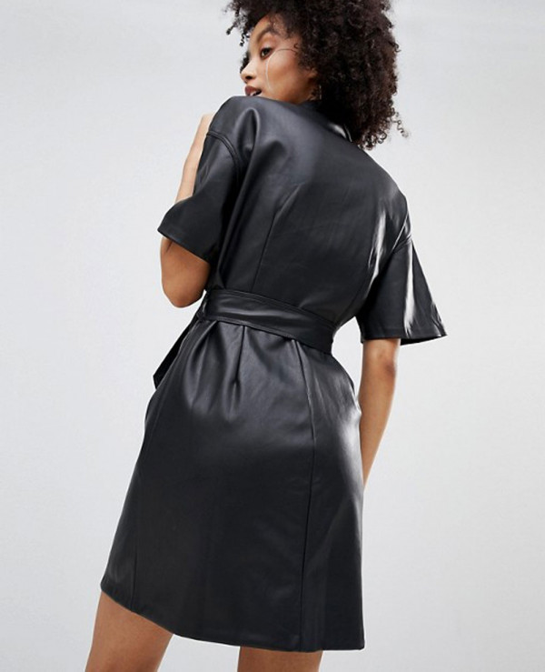 Button Front Leather Look Mini Dress Wholesale Manufacturer Exporters Textile Fashion Leather Clothing Goods With We Have Provide Customization Brand Your Own