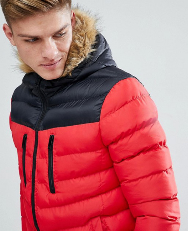 Colour-Block-High-Made-Of-About-Apparels-Puffer-Jacket-In-Red