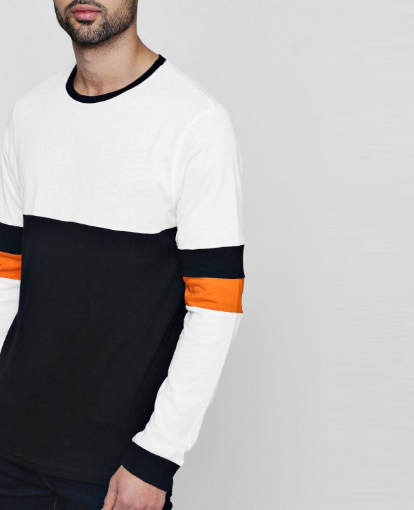 Colour-Block-Long-Sleeve-T-Shirt-With-Stripe