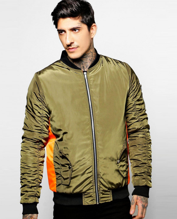 Contrast-Panel-Ruched-Sleeve-Bomber