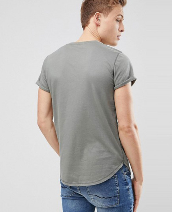 Curved-Hem-Crew-Neck-T-Shirt-Seagull-Logo-in-Olive