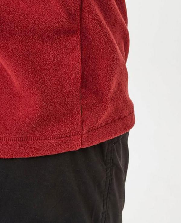 Fashionable-Red-Half-Zipper-Fleece-Jacket
