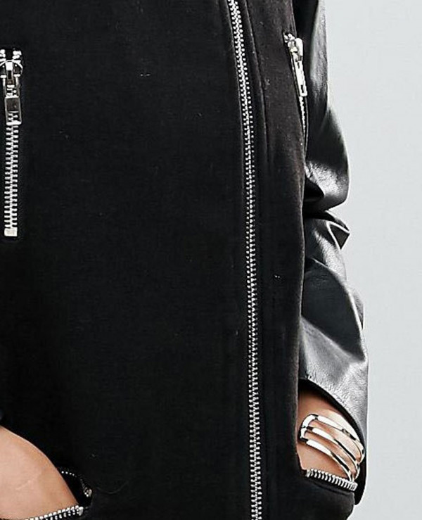 Faux-Leather-Sleeved-Collarless-Biker-Jacket-Black