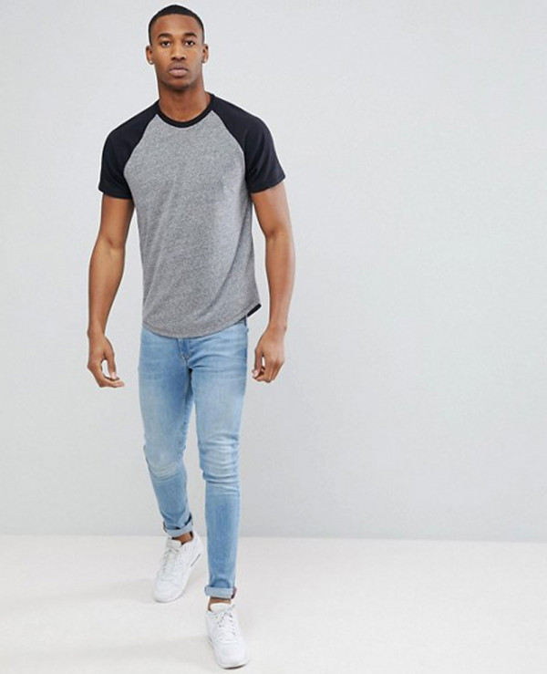 Gym-Slim-Fit-Men-Baseball-Raglan-in-Grey-T-Shirt