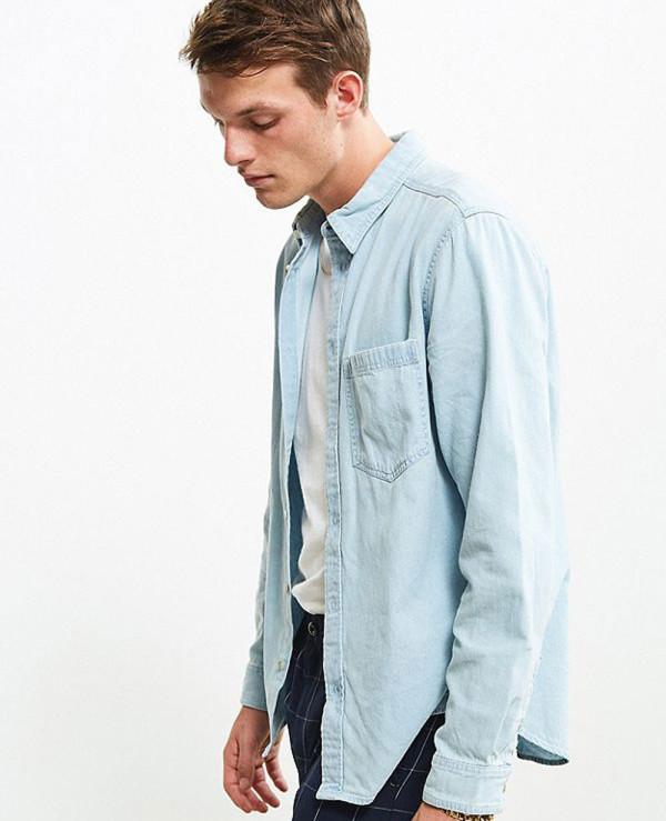 High-Quality-Men-Denim-Button-Down-Shirt