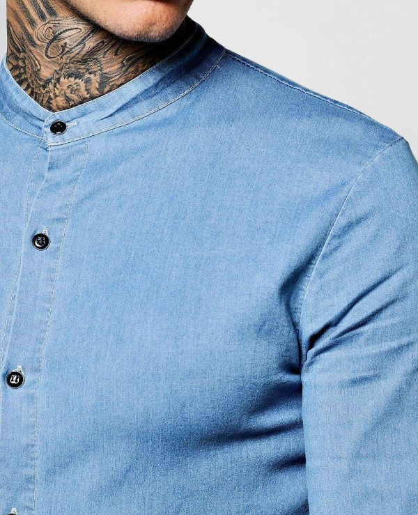 High-Quality-Men-Denim-Chambray-Shirt-with-Grandad-Collar