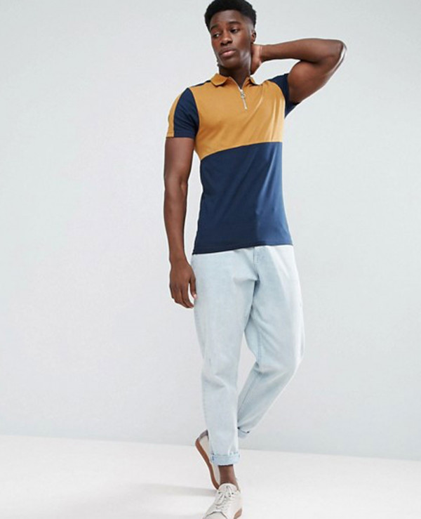 High-Quality-Men-Muscle-Polo-Shirt-With-Colour-Block-And-Zipper-Neck