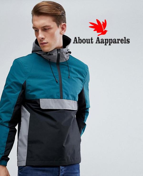Hot-Selling-Men-Custom-Colour-Block-Overhead-Windbreaker-Jacket