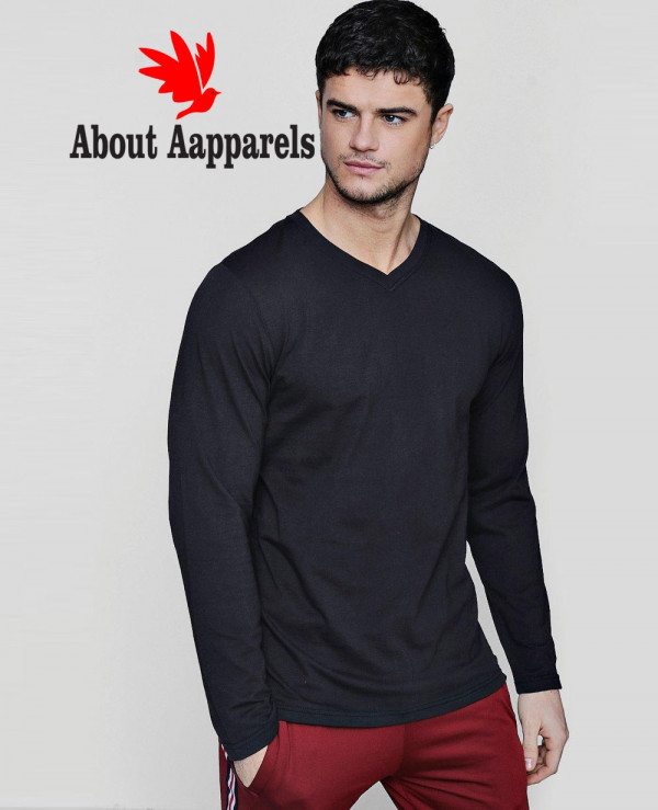 Hot-Selling-Men-Custom-Long-Sleeve-V-Neck-T-Shirt