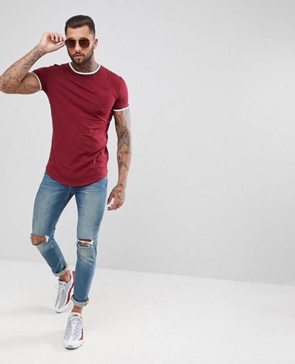 Hot-Selling-Men-Fashionable-Muscle-Ringer-T-Shirt-In-Burgundy