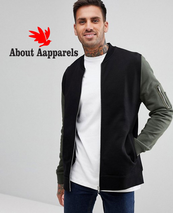 Jersey-Bomber-Jacket-With-Contrast-Sleeves-And-Pocket-In-Black