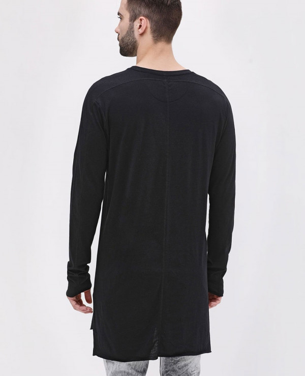 Long-Sleeve-Longline-Soft-Jersey-Black-T-Shirt