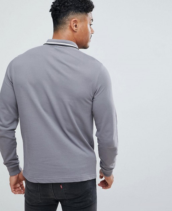 Long-Sleeve-Slim-Fit-Twin-Tipped-Polo-Shirt-In-Grey