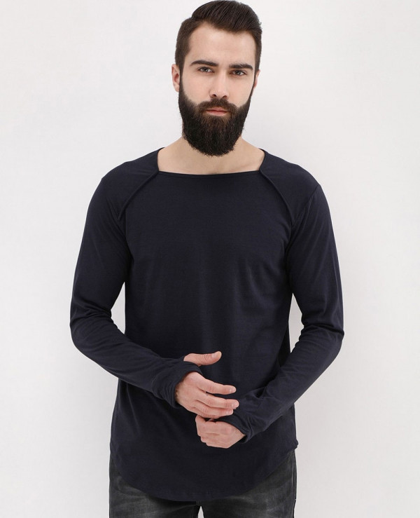 Long-Sleeve-Square-Neck-With-Thumbhole-Detail-Black-T-Shirt