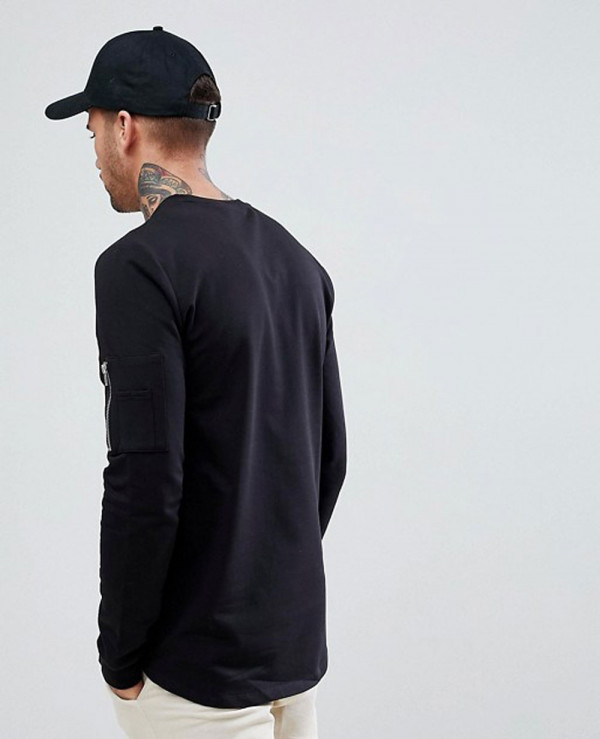 Longline-Muscle-With-Pocket-And-Curved-Hem-Sweatshirt