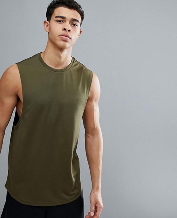 Longline-Sleeveless-Custom-With-Quick-Dry-In-Khaki-Tank-Top