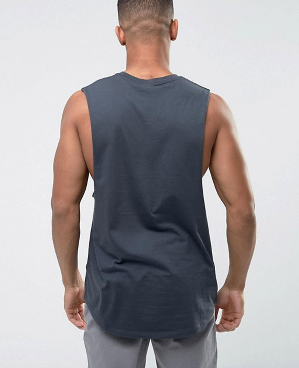 Longline-Vest-With-Dropped-Armhole-and-Curve-Hem-In-Grey