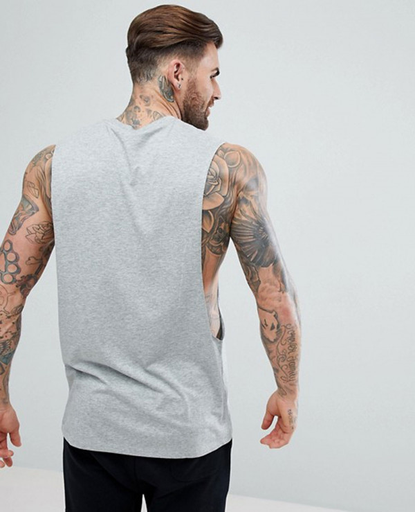 Longline-Vest-With-Extreme-Dropped-Armhole-In-Grey-Tank-Top