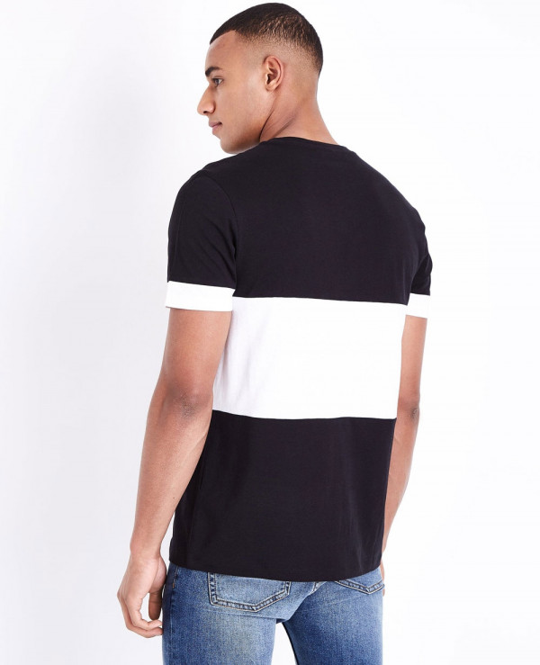 Men-Black-Block-Color-Front-T-Shirt