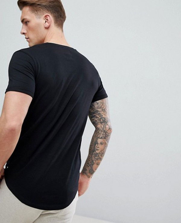 Men-Black-Longline-With-Curved-Hem-T-Shirt