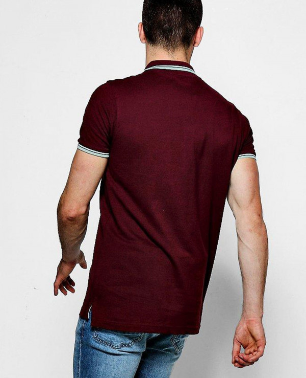 Men-Burgundy-Short-Sleeve-Pique-Polo-With-Tipping-Detail