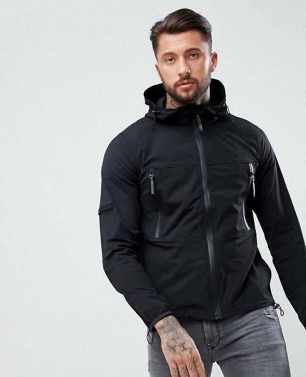 Men-Full-Zipper-Black-Through-Windbreaker-Jacket-With-Hood