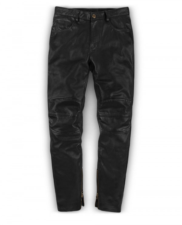 Men-Genuine-Leather-Long-Punk-Pants-Black-Business