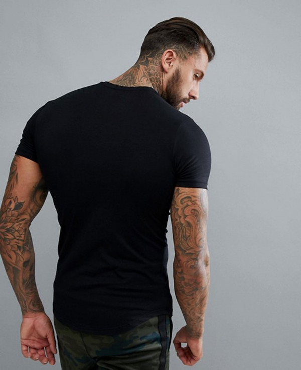 Men-Gym-Muscle-Fashion-T-Shirt-In-Black