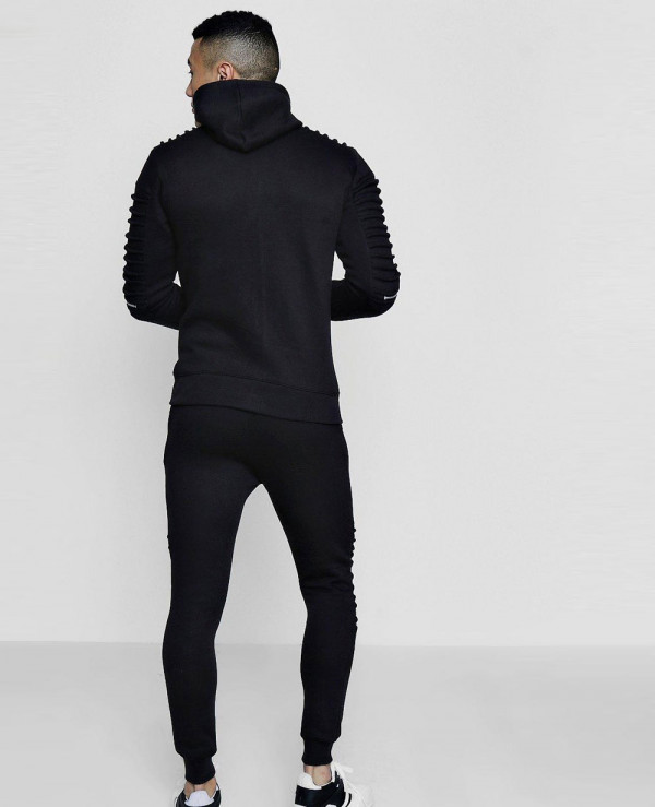 Men-High-Quality-Skinny-Fit-Biker-Zipper-Hooded-Tracksuit