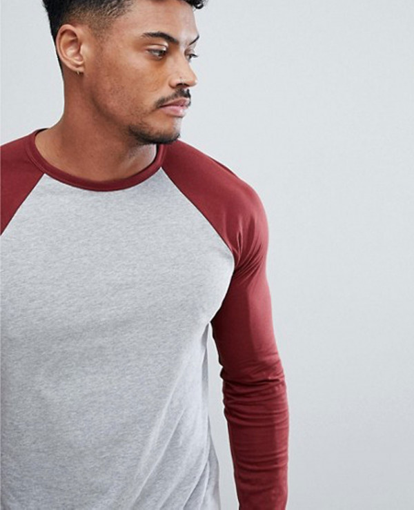Men-Long-Sleeve-Contrast-Raglan-Burgundy-&-Grey-T-Shirt