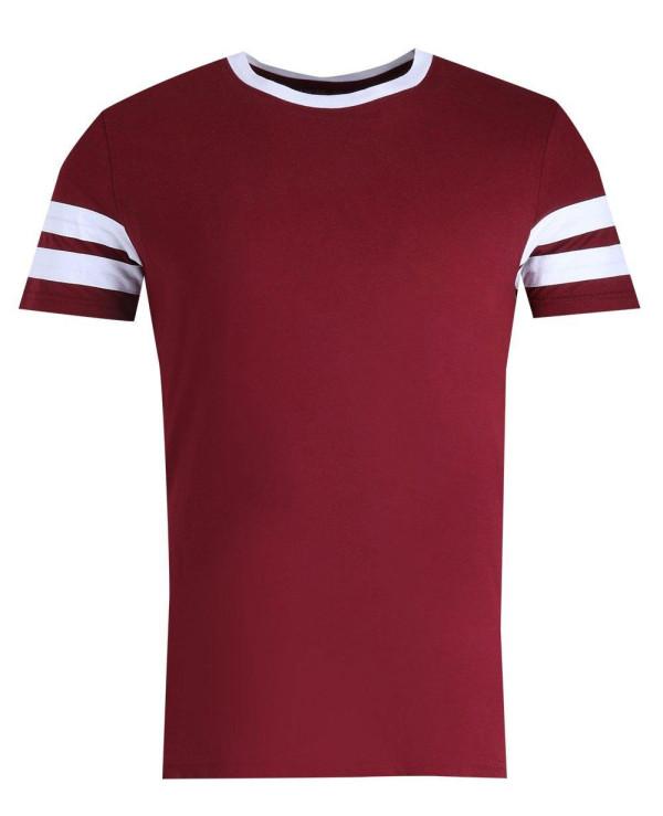Men-Maroon-Stylish-Contrast-Panel-Short-Sleeve-Sports-T-Shirt