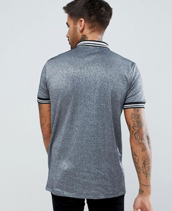 Men-New-Look-In-Silver-Metallic-Fabric-With-Silver-Tipping-And-Ring-Pull-Polo-Shirt