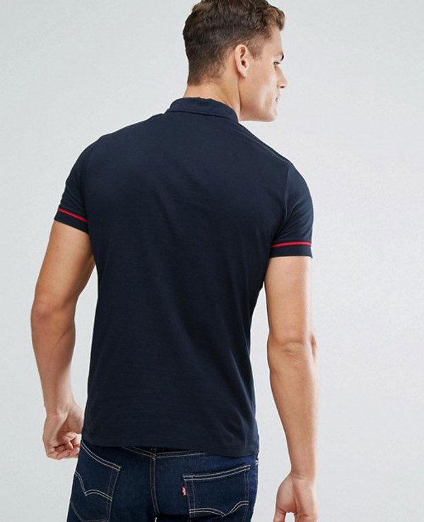 Men-Polo-Shirt-With-Colour-Block-And-Ring-Pull-Zipper-Neck