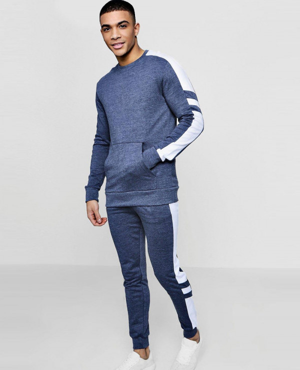 Men-Pullover-Blue-Muscle-Fit-Sleeve-Panel-Tracksuit