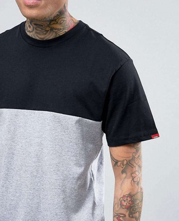 Men-Short-Sleeve-Custom-Colour-Block-T-Shirt-In-Grey