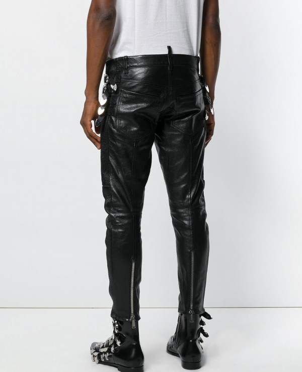 Mens Leather Motorcycle Slim Fit Pants Zipper Pleasted Stylish Long Chic Trouser