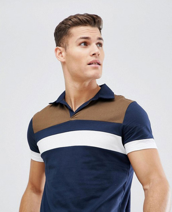 Men-Stylish-With-Retro-Colour-Block-Yoke-And-Revere-Collar-Polo-Shirt