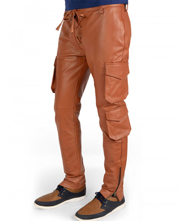 Men-Synthetic-Leather-Slim-Fit-Fashion-Punk-Autumn-Long-Cargo-Leather-Pant
