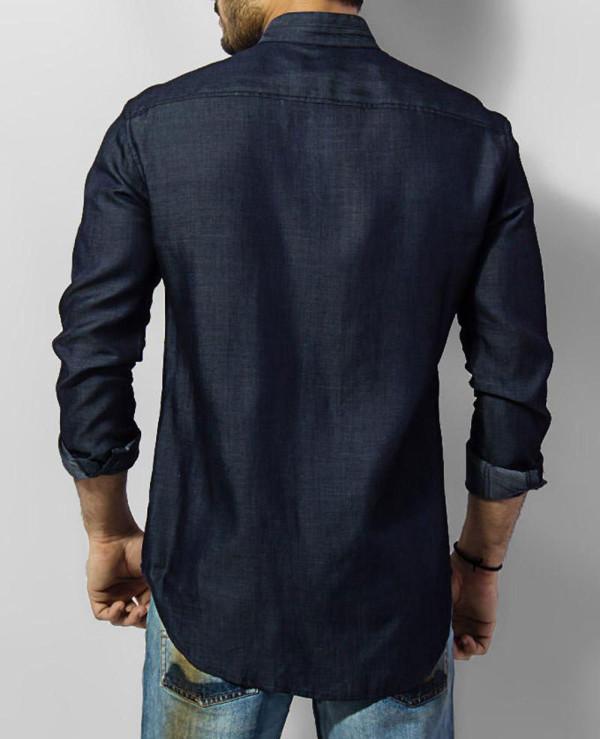 Men-Tencel-Denim-Shirt-With-Mao-Collar